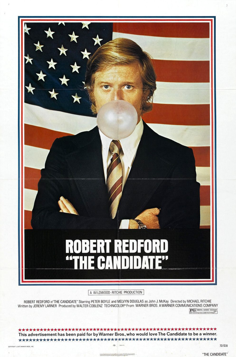The Candidate (1972) - Robert Redford -  film poster 70s