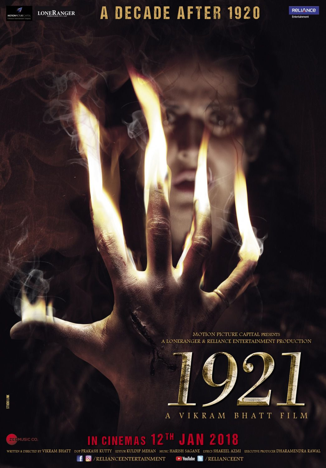 1921 horror film by Vikram Bhatt - film poster - hand on fire