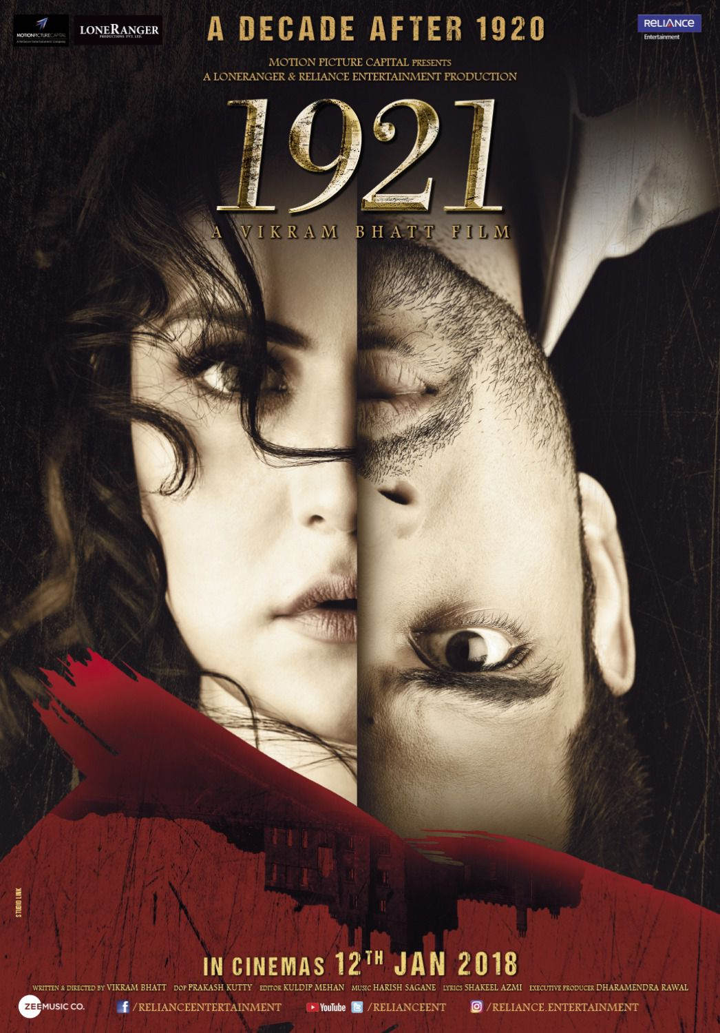 1921 horror film by Vikram Bhatt - Ayush (Karan Kundrra) and Rose (Zareen Khan)