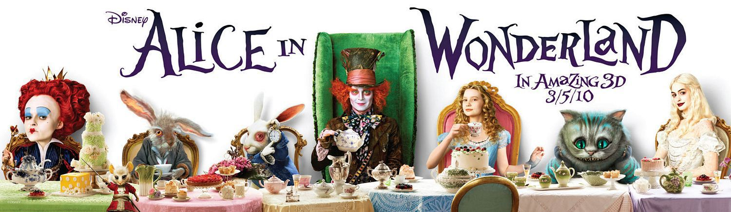 Alice in Wonderland - banner and characters