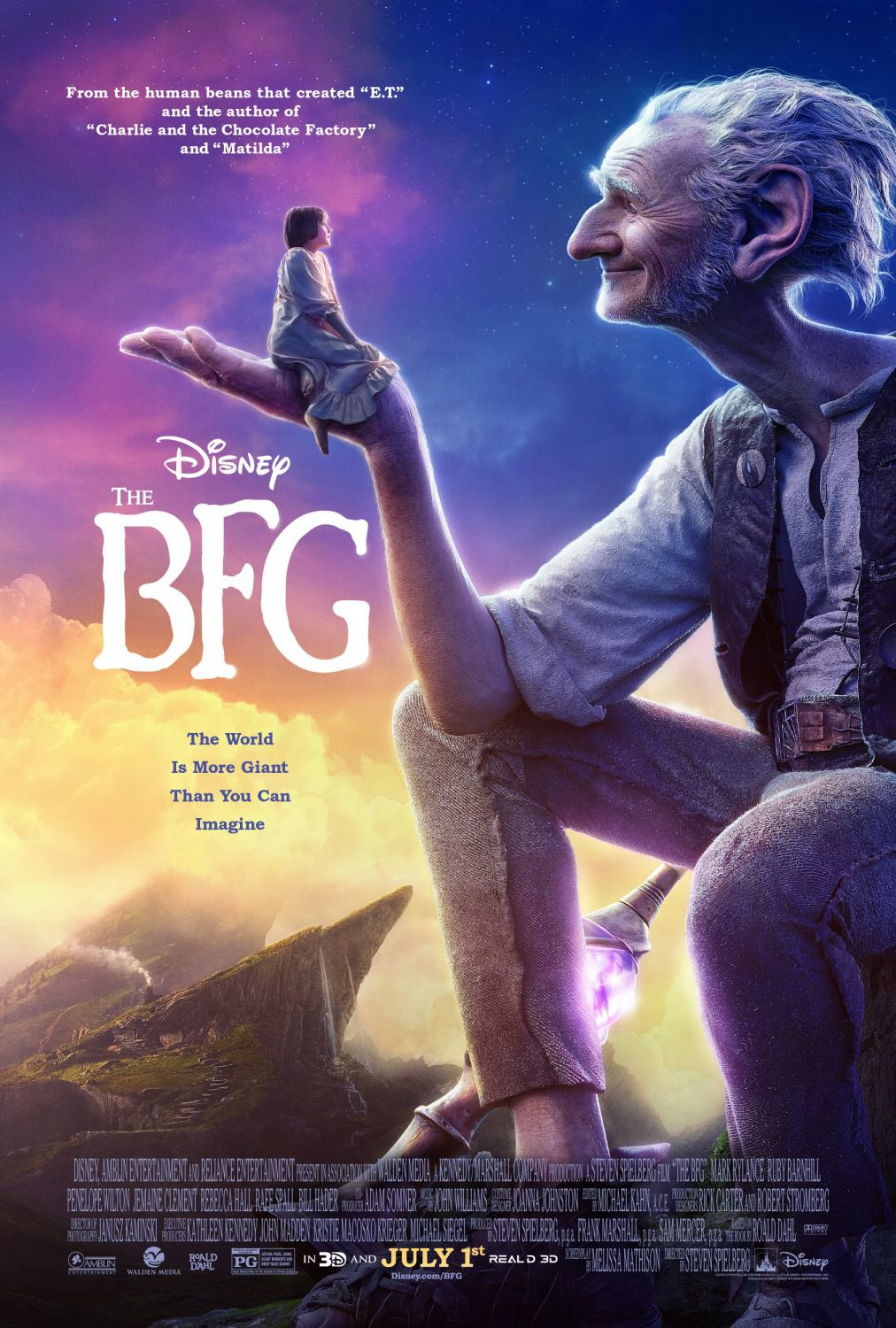 BFG - Big Friendly Giant - animated film poster