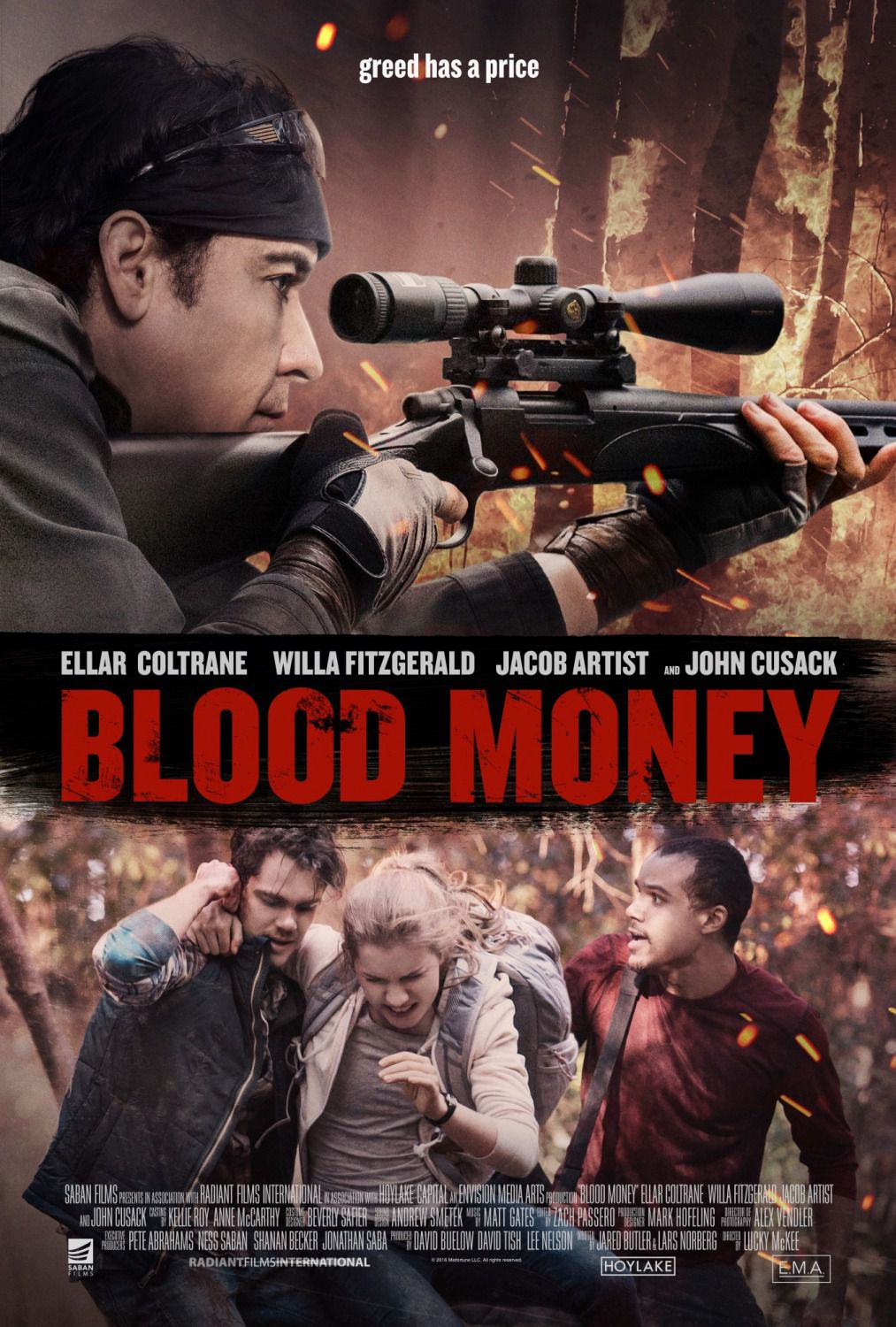 Blood Money by Lucky McKee - Ellar Coltrane, John Cusack, Ellar Coltrane, Willa Fitzgerald, Jacob Artist - film poster