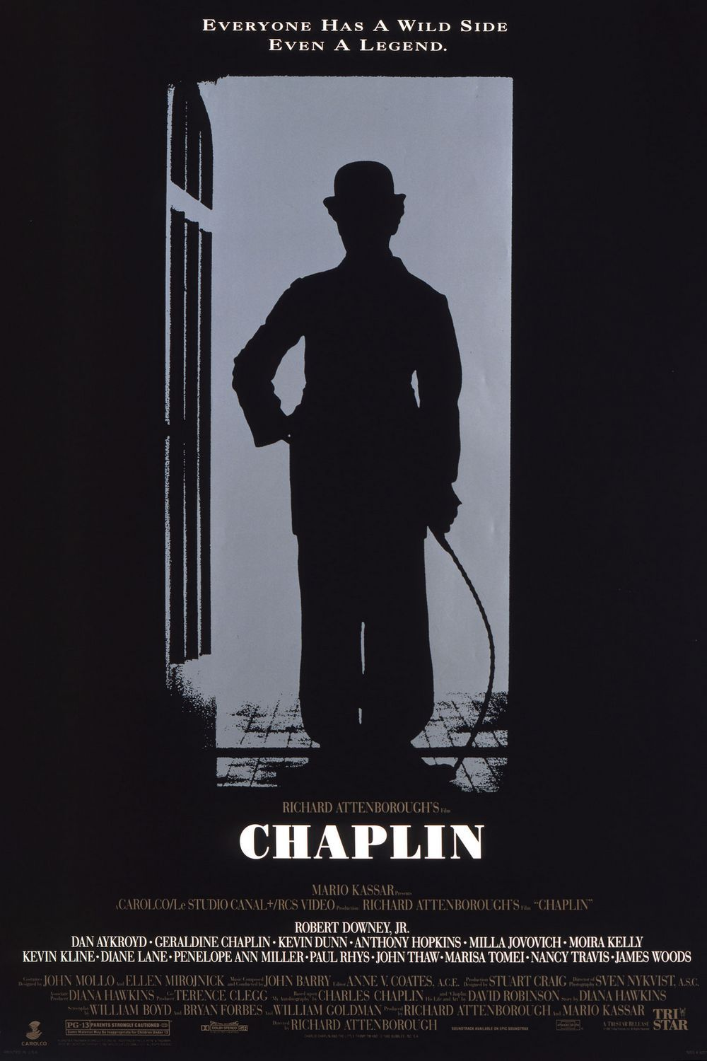 Chaplin - life documentary 1992 - Cast: Robert Downey Jr., Geraldine Chaplin, Paul Rhys, John Thaw - film poster