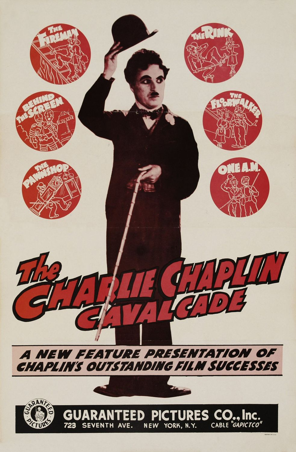 Charlie Chaplin (1938) Cavalcade - Cast: Charles Chaplin, Edna Purviance - old cult film poster