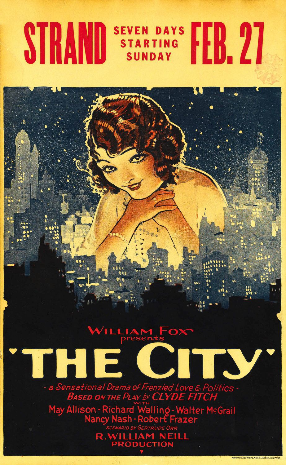 The City (1926) by Roy William Neill - Cast: May Allison, Richard Walling, Walter McGrail, Nancy Nash, Robert Frazer, George Irving, Lillian Elliott - old classic film poster cult