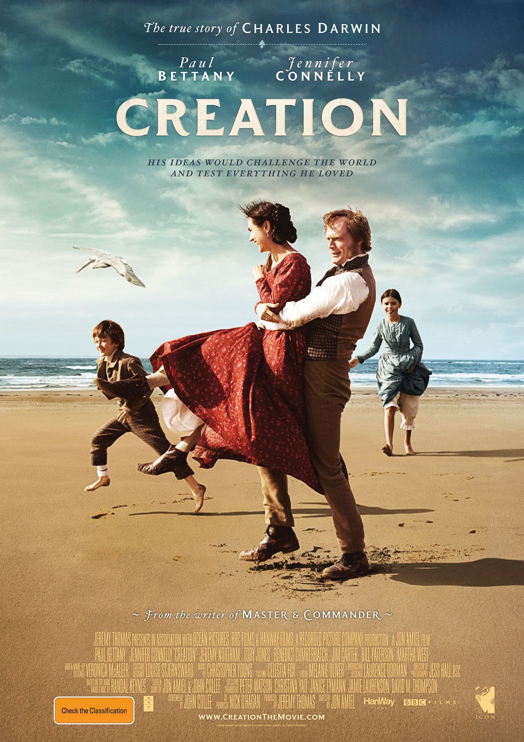 Creation - Cast: Paul Bettany, Jennifer Connelly, Martha West, Jeremy Northam - film poster