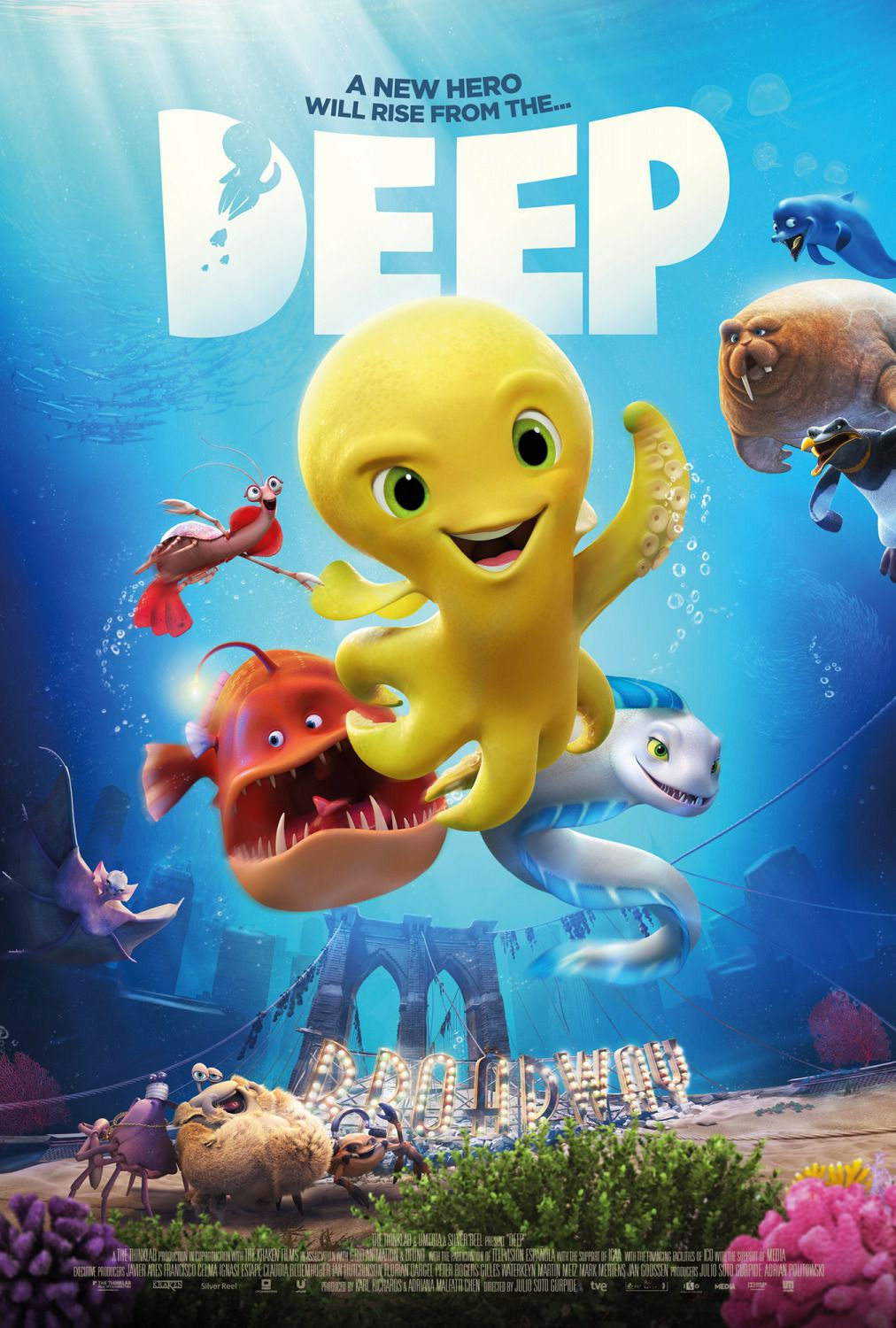 Deep - animated film poster - yellow octopus polpo polipo