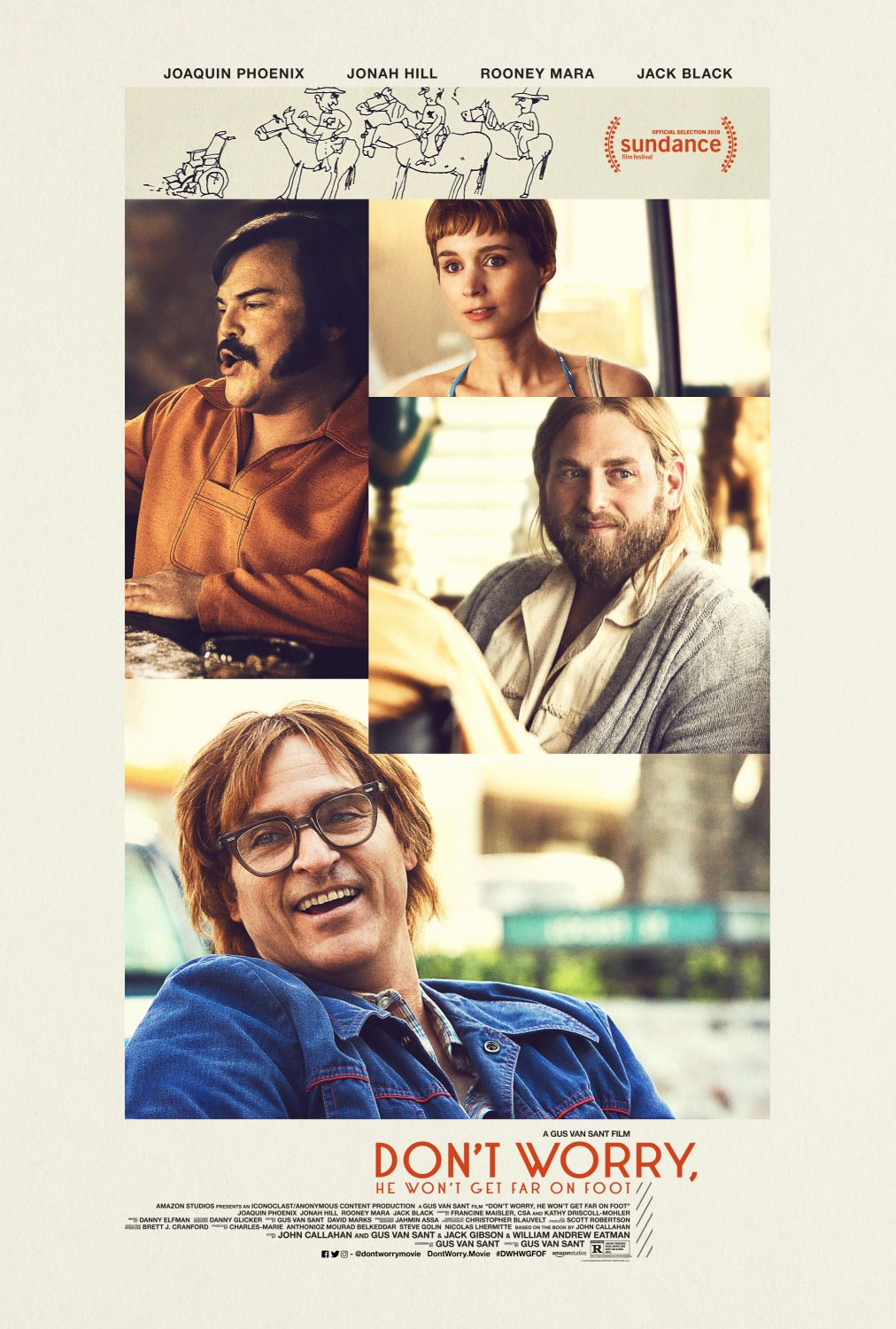 Dont Worry He wont get far on Foot by Gus Van Sant - Non ti preoccupare non andrà lontano a piedi - Cast: Joaquin Phoenix, Rooney Mara, Jonah Hill, Jack Black - handicap love comedy and sotry film poster