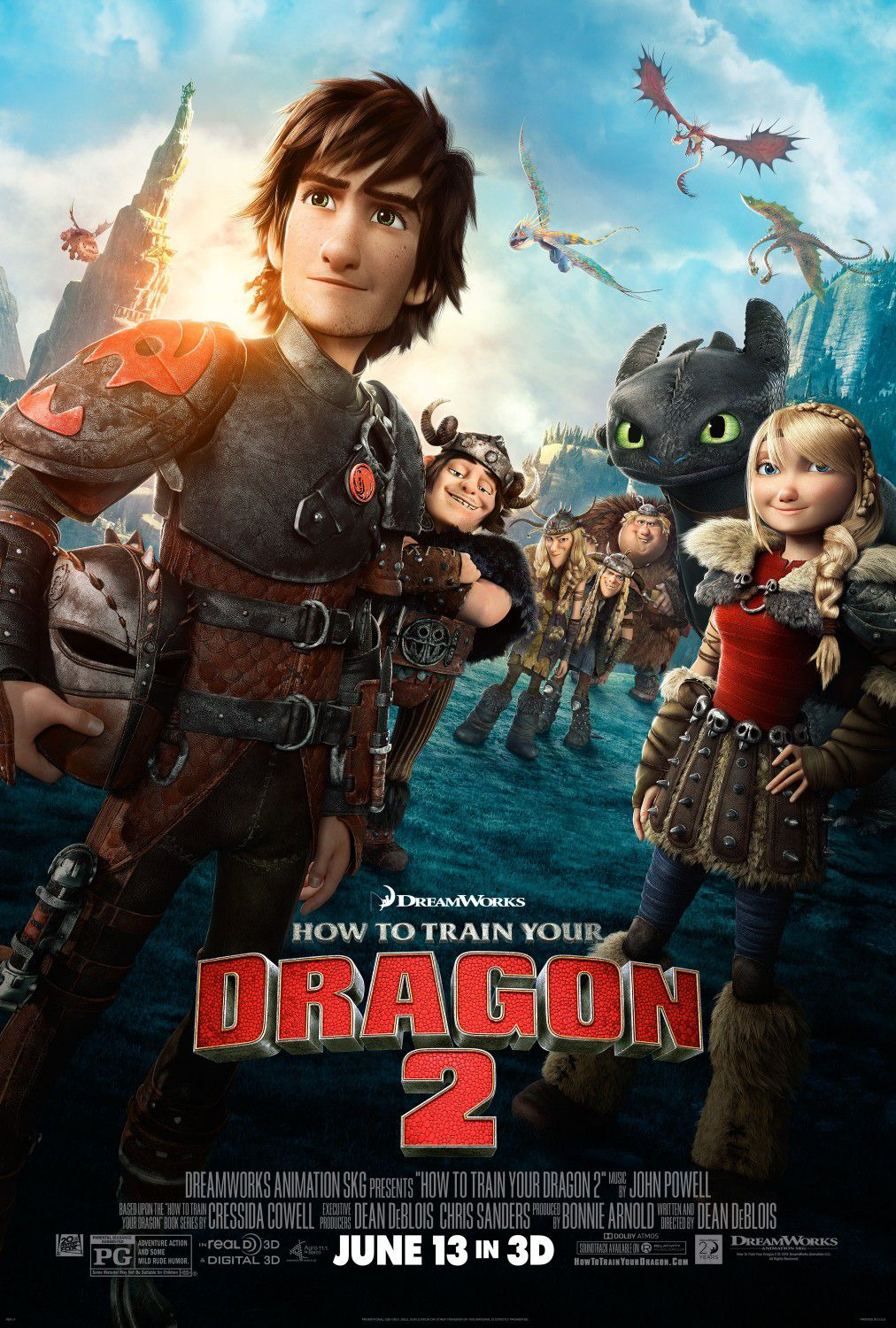 Dragon Trainer 2 - How to train your Dragon continue adventure - animated film poster