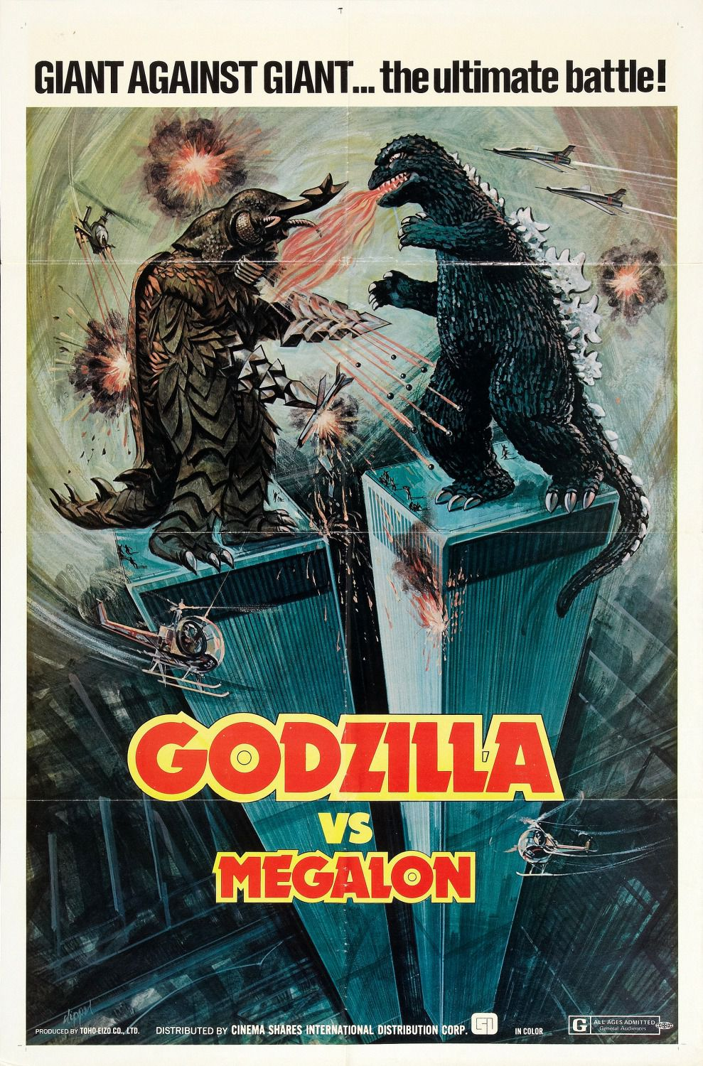 Godzilla vs Megalon - Gojira tai Megaro (1973) - Giant against giant... the ultimate battle - classic cult scifi film japanese monster poster