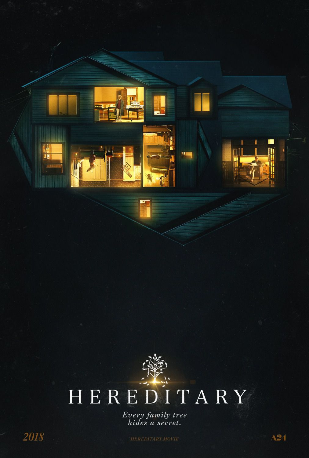 Hereditary - Ereditario - film poster 2018 - light in the house at night