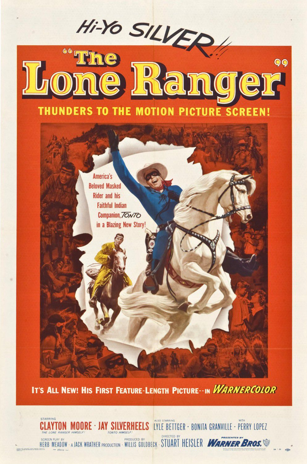 Lone Ranger (1956) - Cast: Clayton Moore, Jay Silverheels, Lyle Bettger, Bonita Granville, Perry Lopez - classic cult western poster