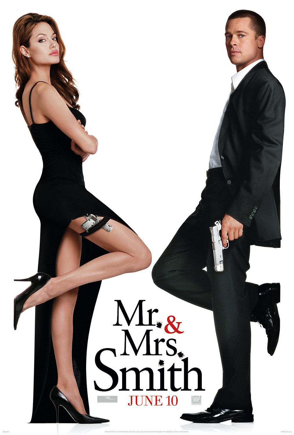 Mr and Mrs Smith - spies film poster