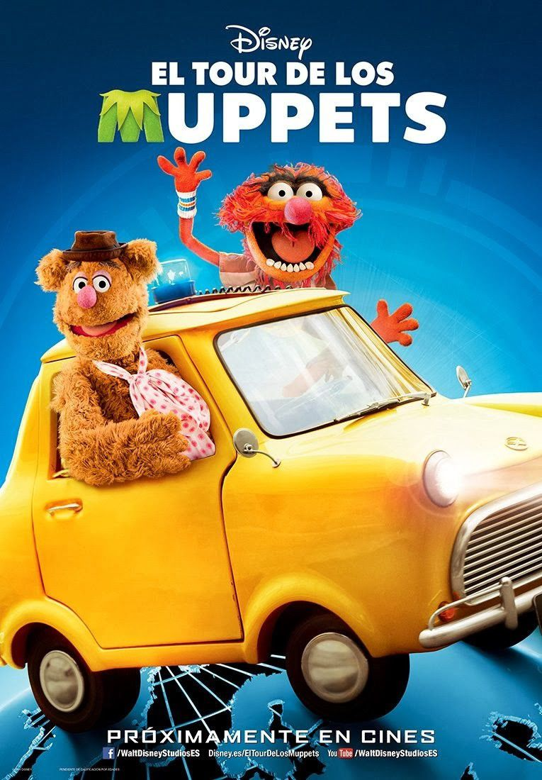 Muppets Most Wanted (2014) - El Tour de los Muppets - Fozzie & Animals in a yellow little car poster