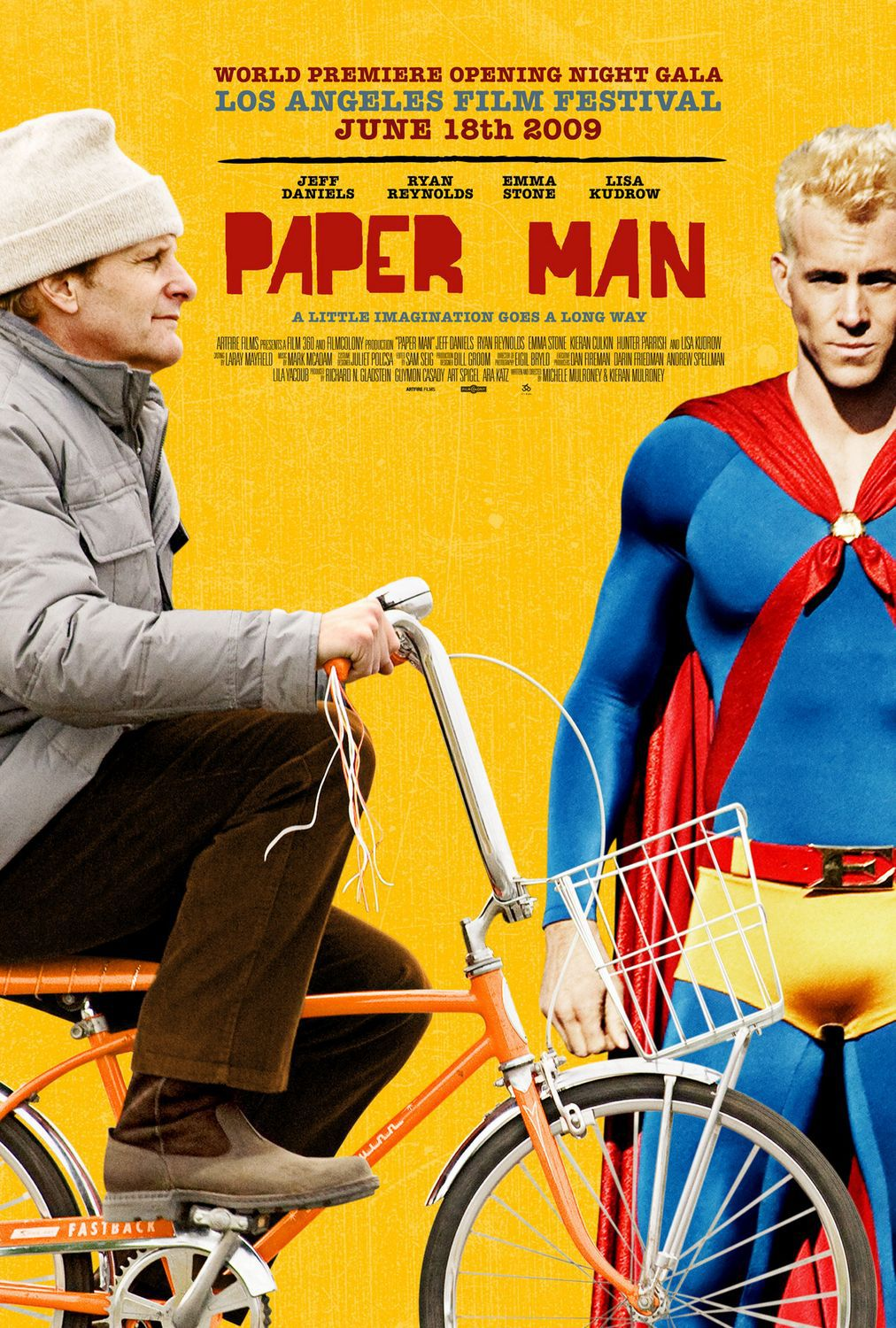 Paper Man - Uomo di Carta - film poster  super blue red and yellow suit