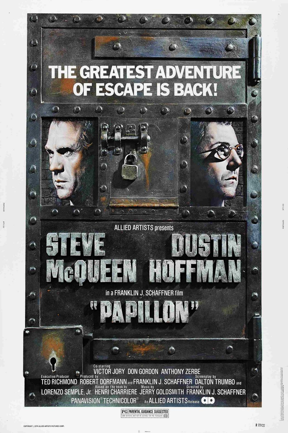 Papillon (1973) - La vita e la Fuga da un campo di Prigionia - For Papillon survival was not enough, he had to be Free - Cast: Dustin Hoffman, Steve McQueen, Victor Jory, Don Gordon, Anthony Zerbe - Classic Cult Film Poster