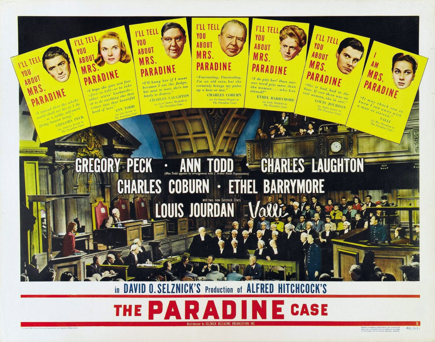 The Paradine Case (1974) - Gregory Peck, Ann Todd, Valli, Charles Laughton, Charles Coburn, Ethel Barrymore, Luois Jourdan