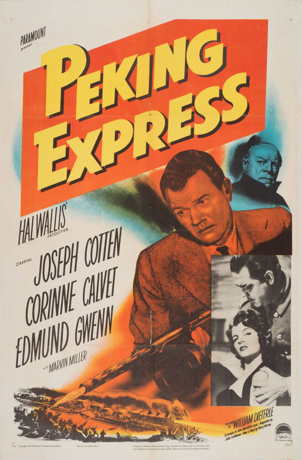 Peking Express - Halwalli production 1951 - cult old film poster