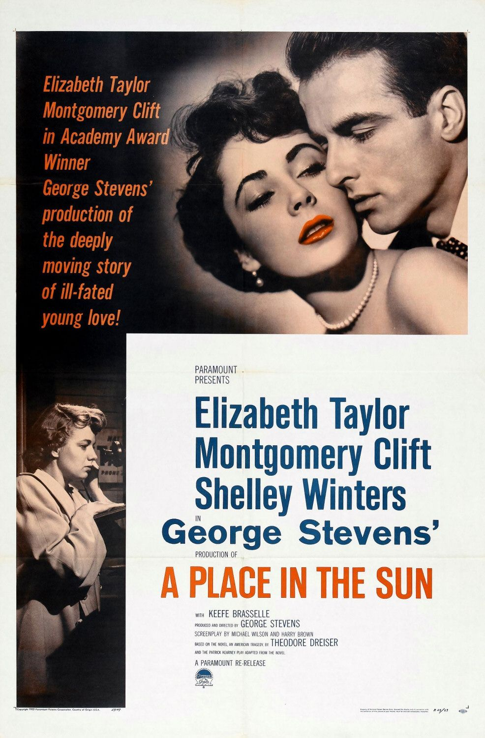 A Place in the Sun - Un Posto al Sole (1951) - classic cult love film poster
