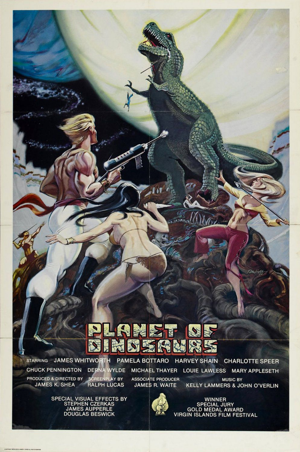 Planet of Dinosaurs (1979) - Cast: Mary Appleseth, Harvey Shain, Derna Wylde, Max Thayer - film poster