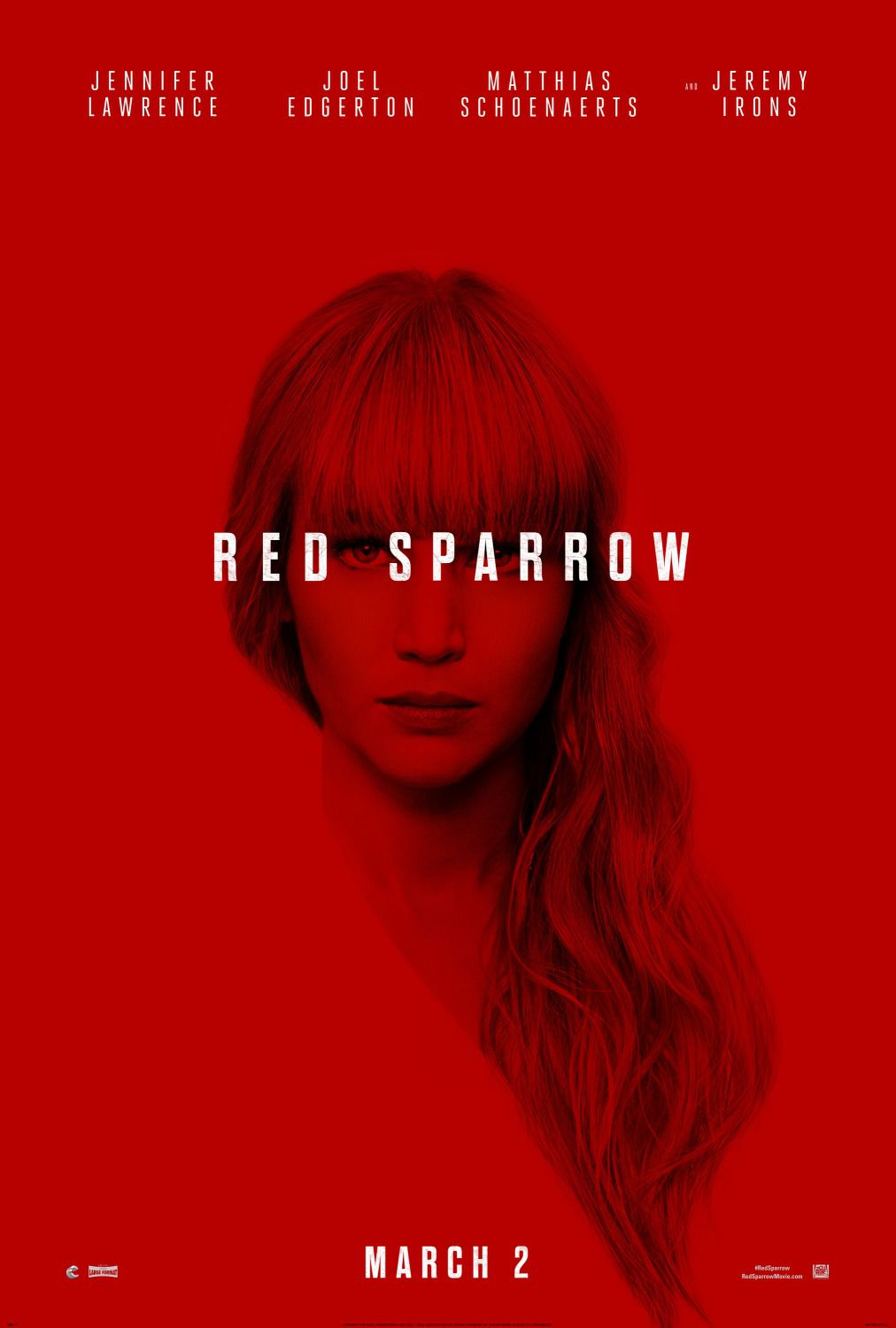 Red Sparrow - Jennifer Lawrence, Joel Edgerton, Matthias Schoenaerts, Jeremy Irons - film poster