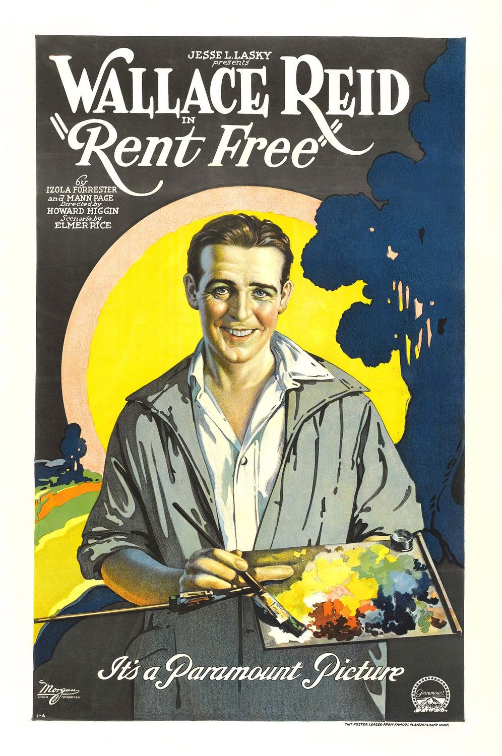 Jesse L. Lasky presents Wallace Reid in Rent Free (1922) - classic old cult film poster