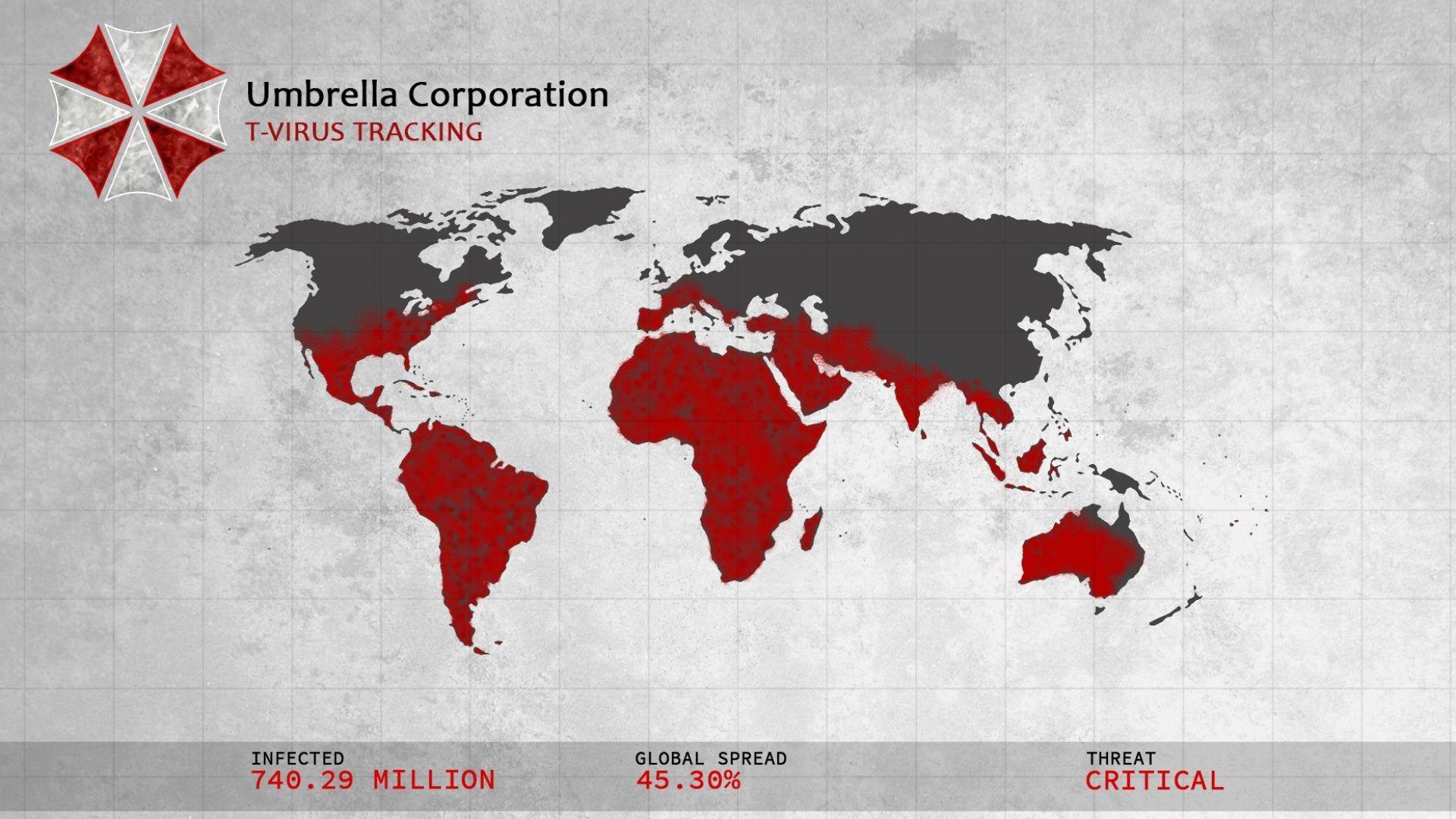 Resident Evil Saga - Umbrella corp Virus T Tracking Infected Population World Map