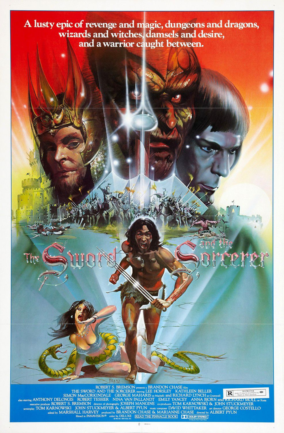 Sword and the Sorcerer(1982) - Cast: Lee Horsley, Richard Lynch, Kathleen Beller, Simon MacCorkindale - fantasy film cult classic poster 80s