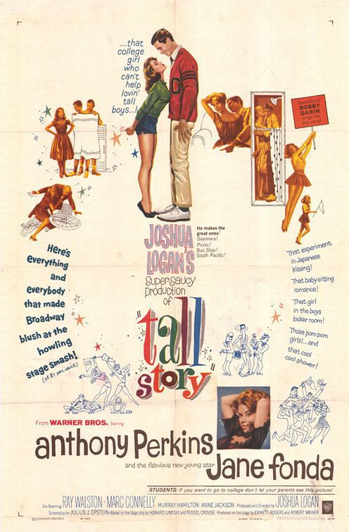 Tall Story (1960) - Cast: Jane Fonda, Anthony Perkins, Ray Walston, Marc Connelly - special cult old comedy film poster