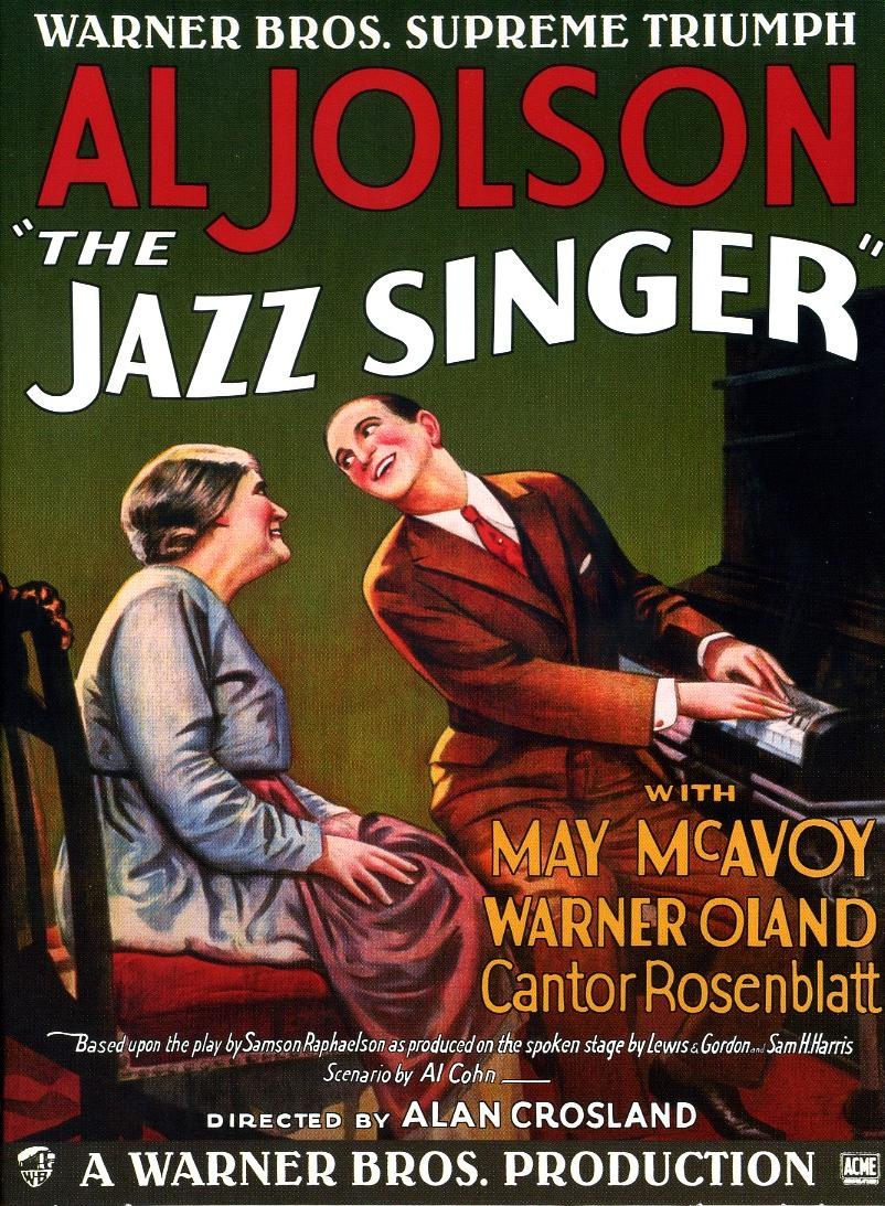 The Jazz Singer by Alan Crosland - 1927 - first movie with sound - classic old cult film poster