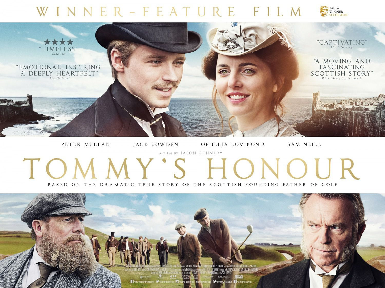 Tommy's honour - Onore di Tommy - cast Peter Mullan, Jack Lowden, Ophelia Lovibond, Sam Neill - film poster