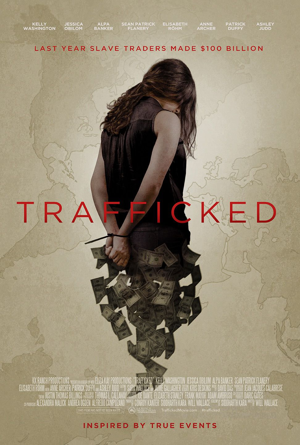 Trafficked by Will Wallace - film poster - cast Elisabeth Röhm, Ashley Judd, Sean Patrick Flanery, Kelly Washington, Jessica Obilom, Alpa Banker, Anne Archer