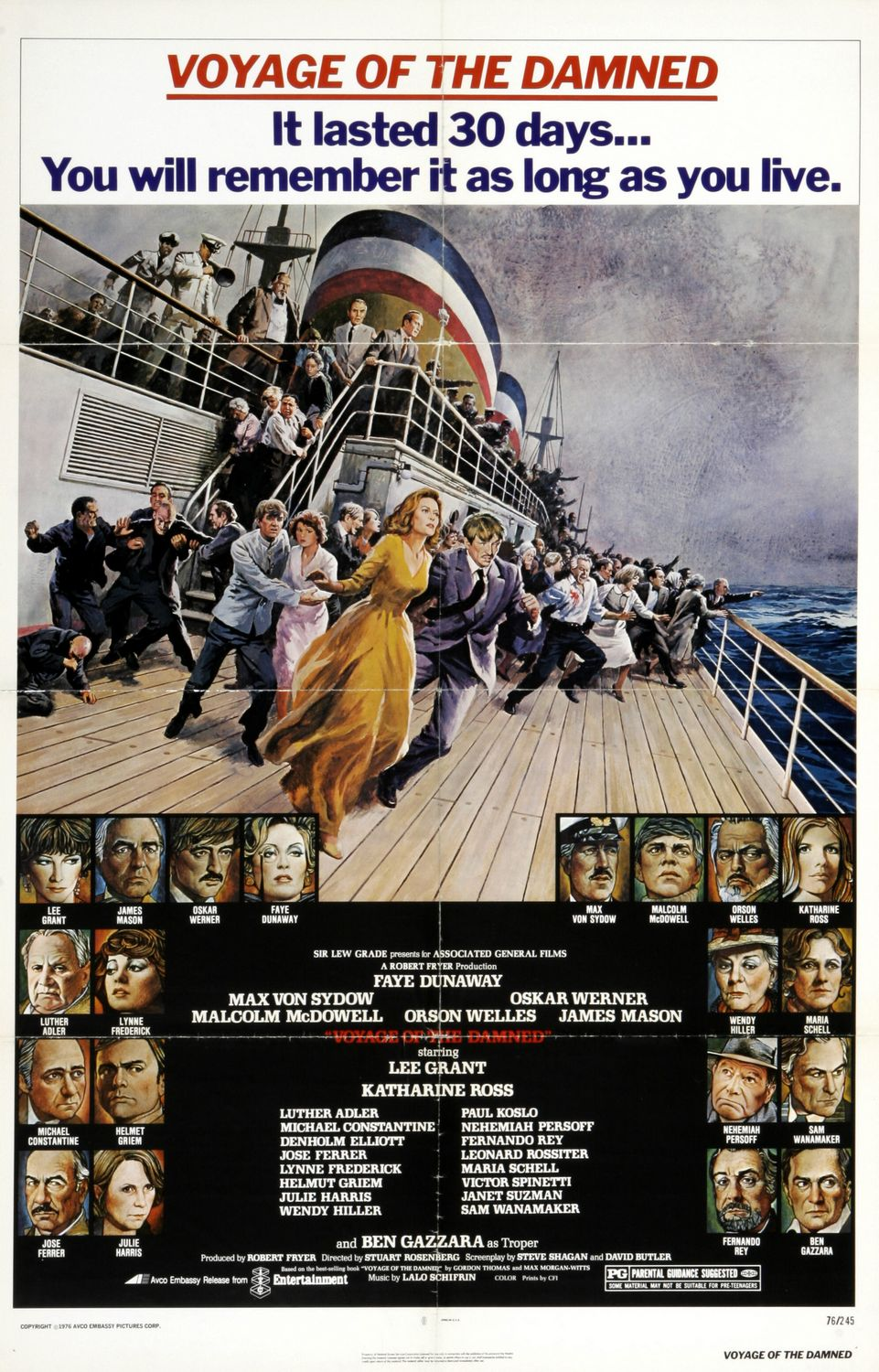 Voyage of the Damned (1976) - cult film poster drama ship boad Titanic