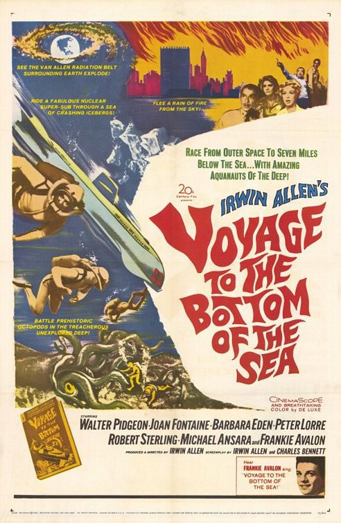 Voyage to the bottom of the sea - Viaggio in fondo al mare (1961) - Cast: Walter Pidgeon, Joan Fontaine, Barbara Eden, Peter Lorre, Robert Sterling, Michael Ansara, Frankie Avalon - classic cult film poster 60s