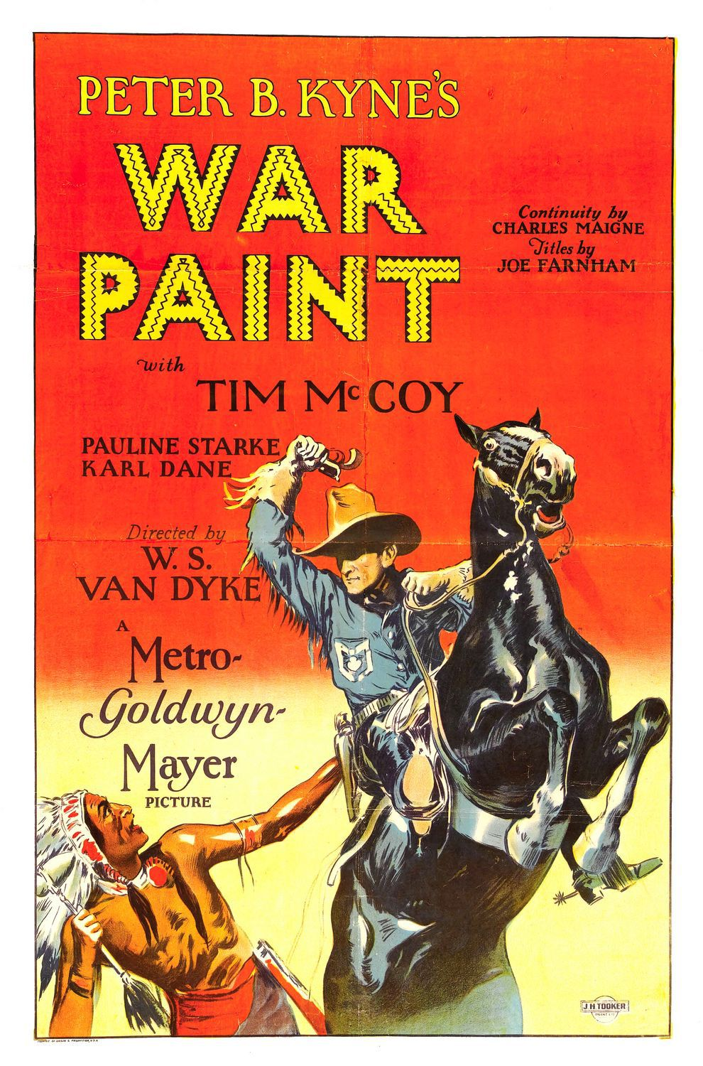 War Paint (1926) - Cast: Tim McCoy, Pauline Starke, Karl Dane, Charles K. French, Chief Yowlachie - classic cult old western film poster