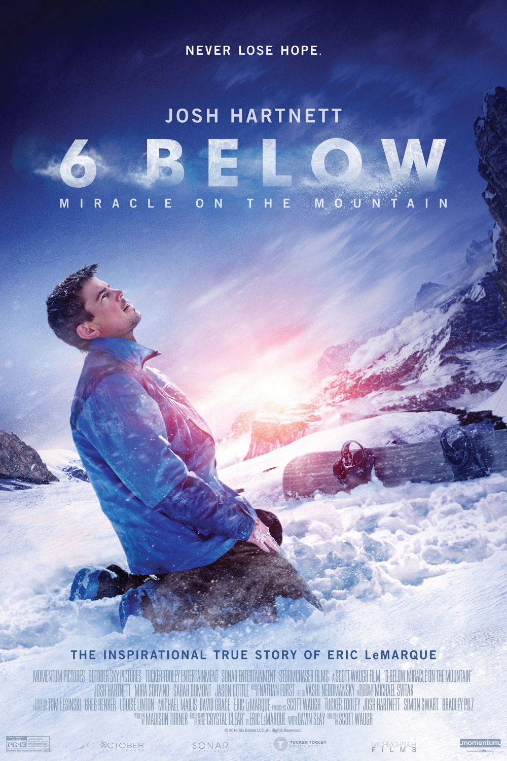 6 Below - Six Below - Josh Hartnett - poster - Miracle on the Mountain - Never lose Hope