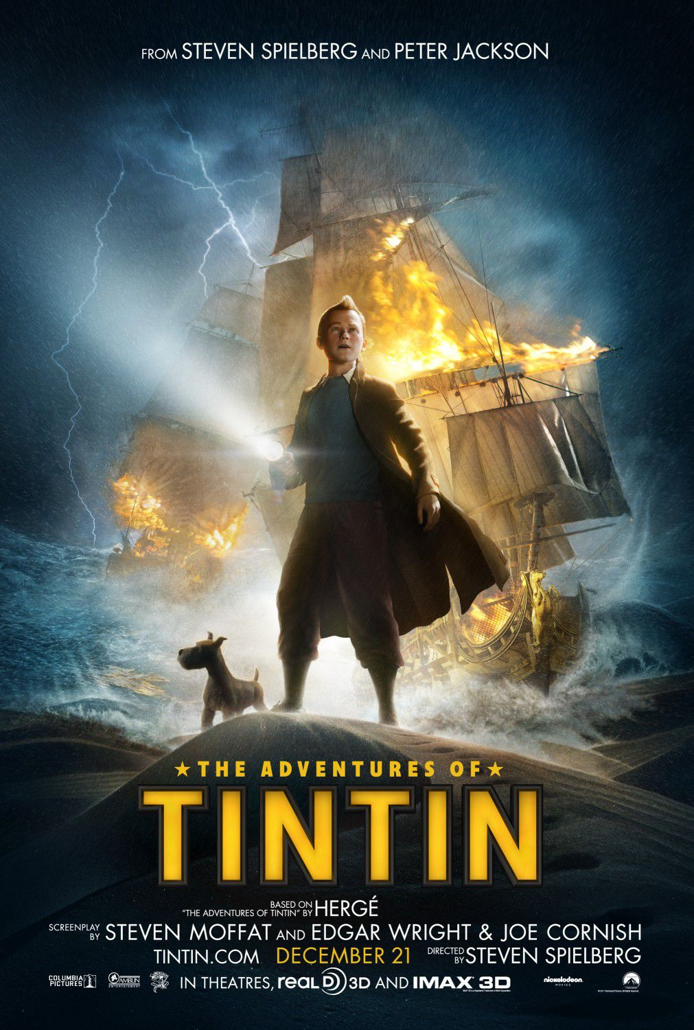 Light night sea boat - Le Avventure di Tintin il segreto dell'Unicorno - Adventures of Tintin secret of the Unicorn - live action film poster