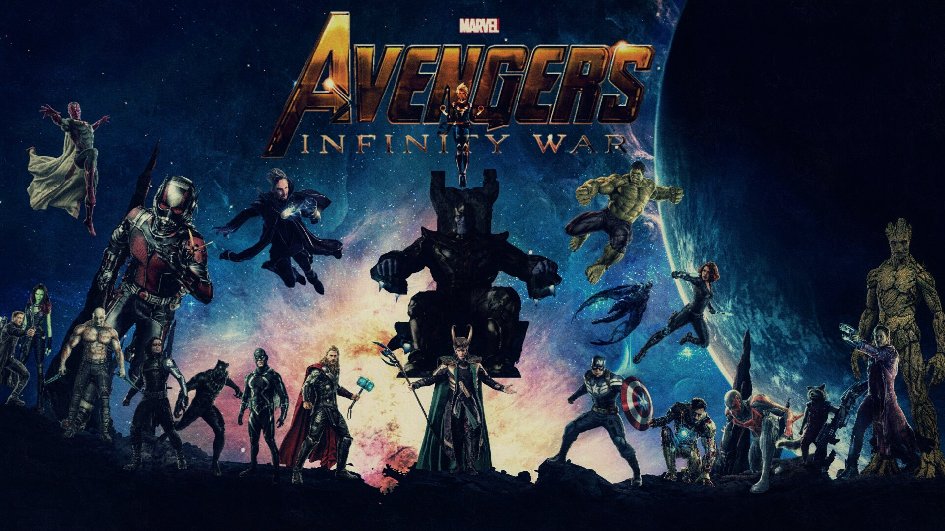 Avengers infinity war ... Avengers and Guardians of Galaxy - heroes and evil characters