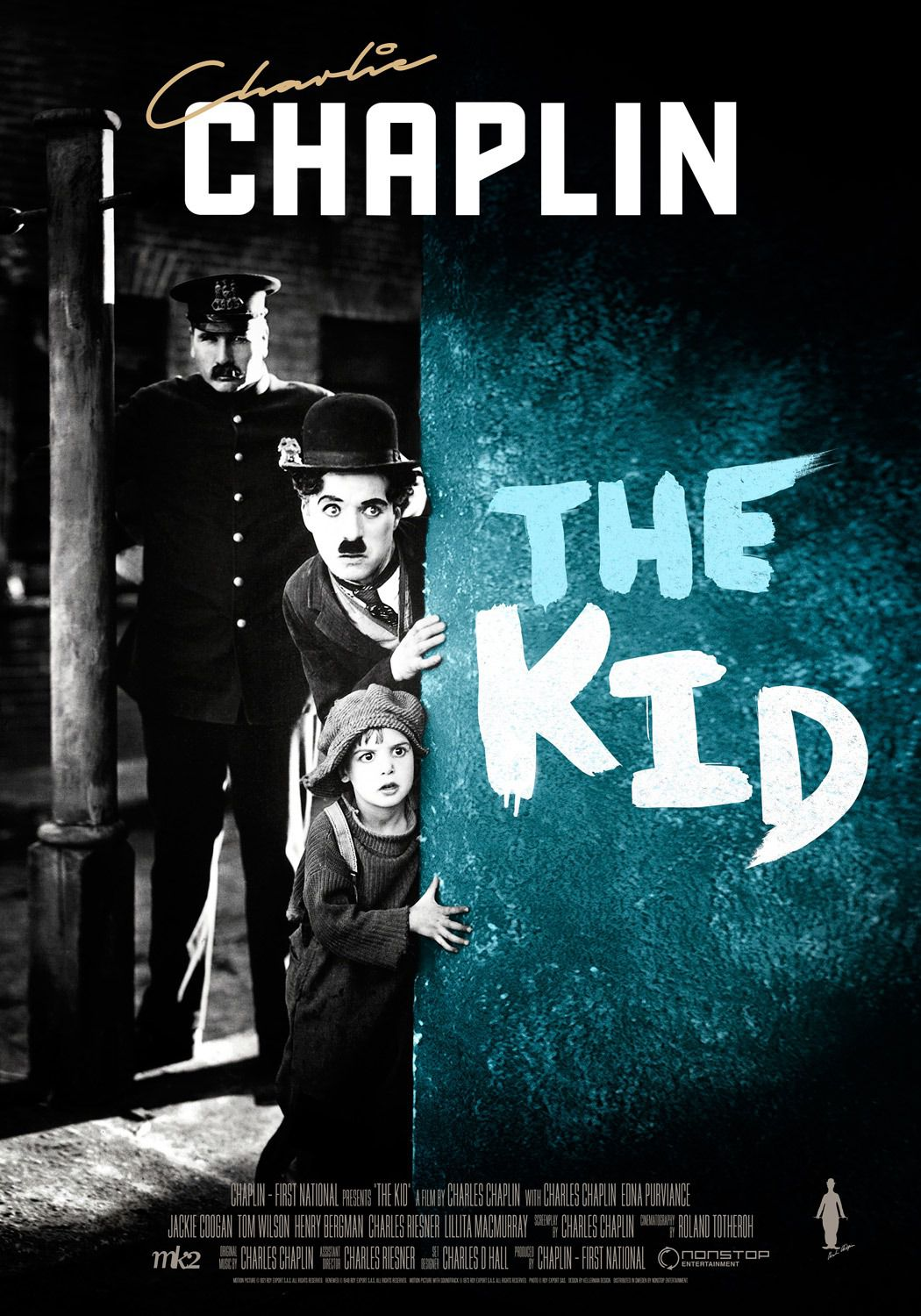 Film - Charlie Chaplin - 1921 - The Kid - il Monello - old poster
