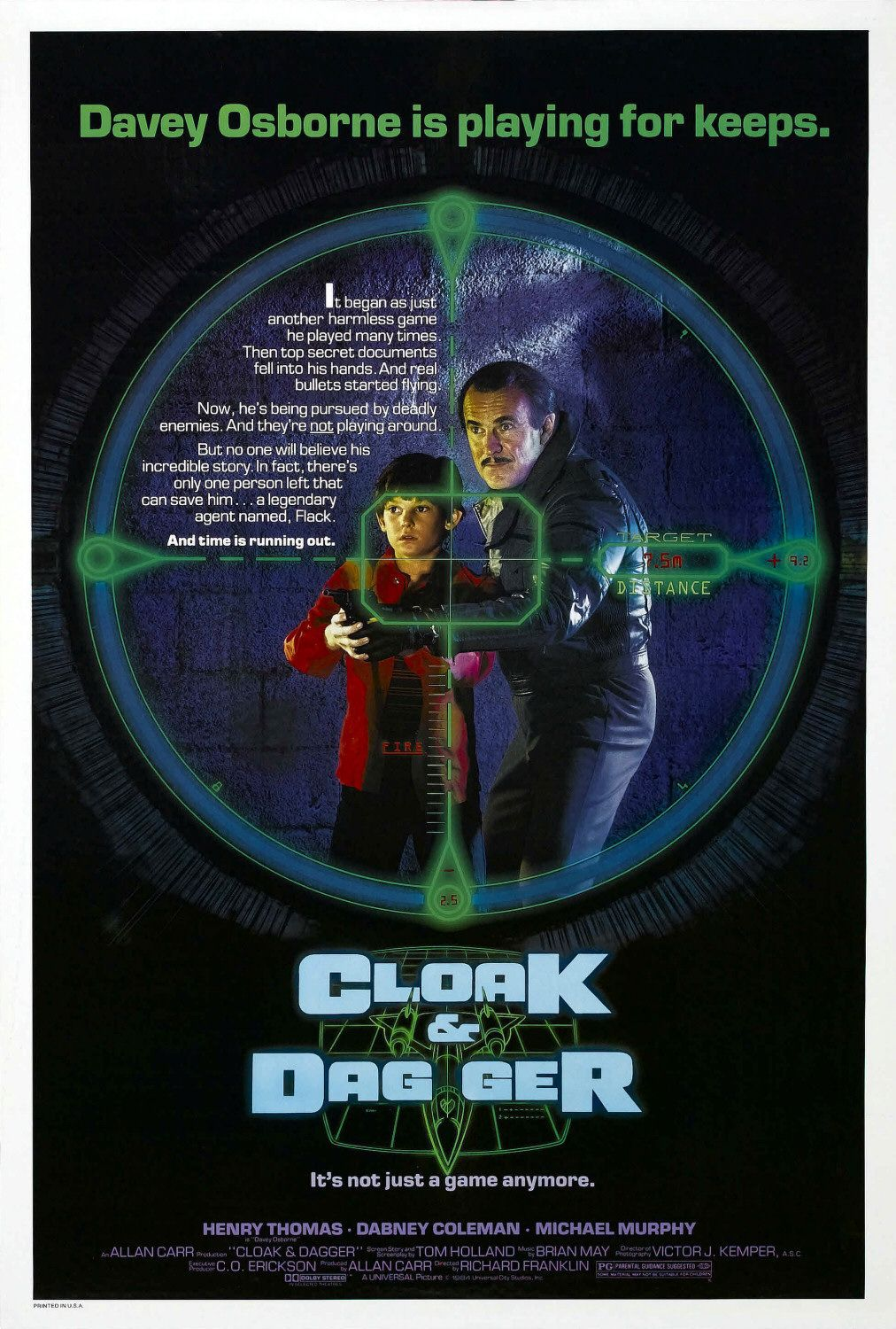 Cloak and Dagger 1984 - Henry Thomas - Dabney Coleman - Michael Murphy - Christina Nigra - film poster