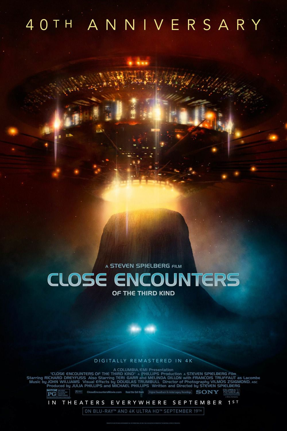Close encounters of the third kind - Incontri ravvicinati del 3 tipo - 40th anniversary - Steven Spielberg film - Richard Dreyfuss - Teri Garr - Melinda Dillon - Francois Truffaut as Lacombe - Music by John Williams