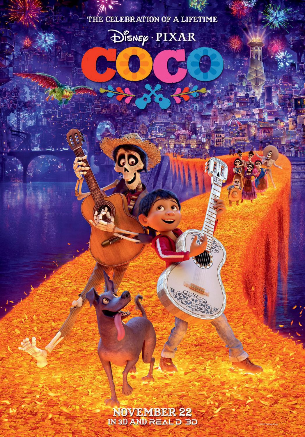 Coco -  Disney Pixar animated film poster - flower bridge