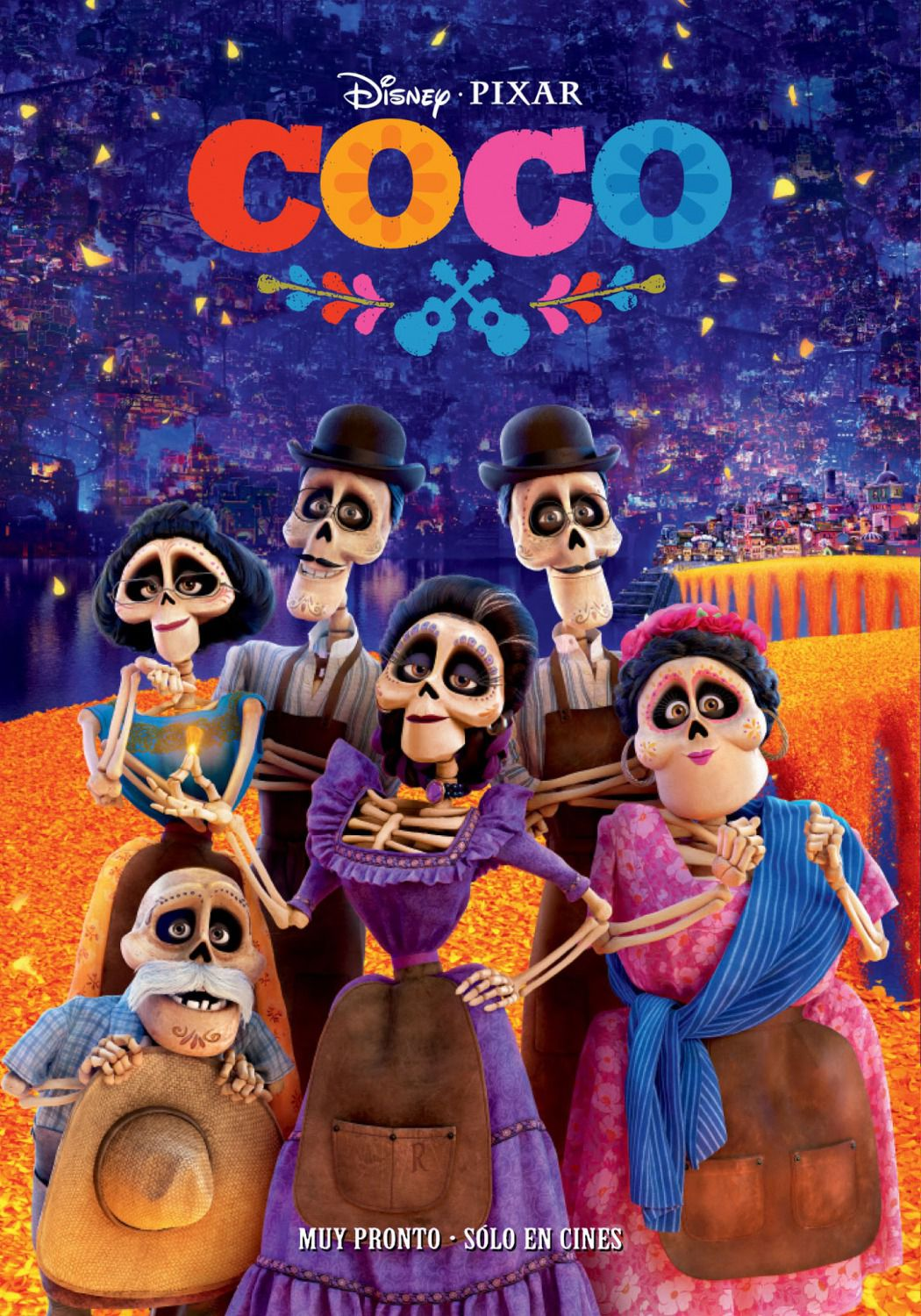 Coco -  Disney Pixar animated film poster - dead family ancestors