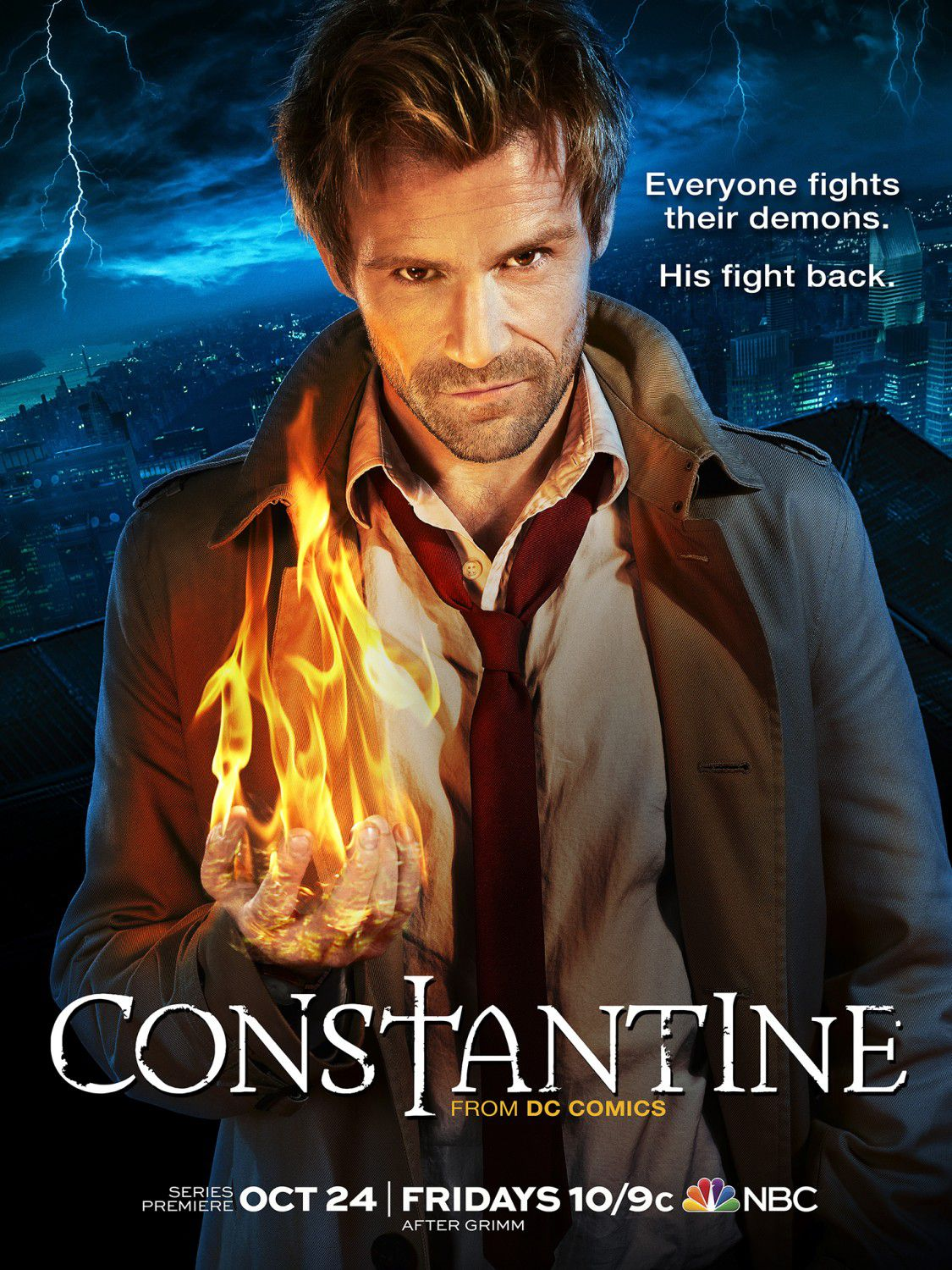 Constantine - Series TV - magic poster - Everyone fights their Demons. His fight back.
