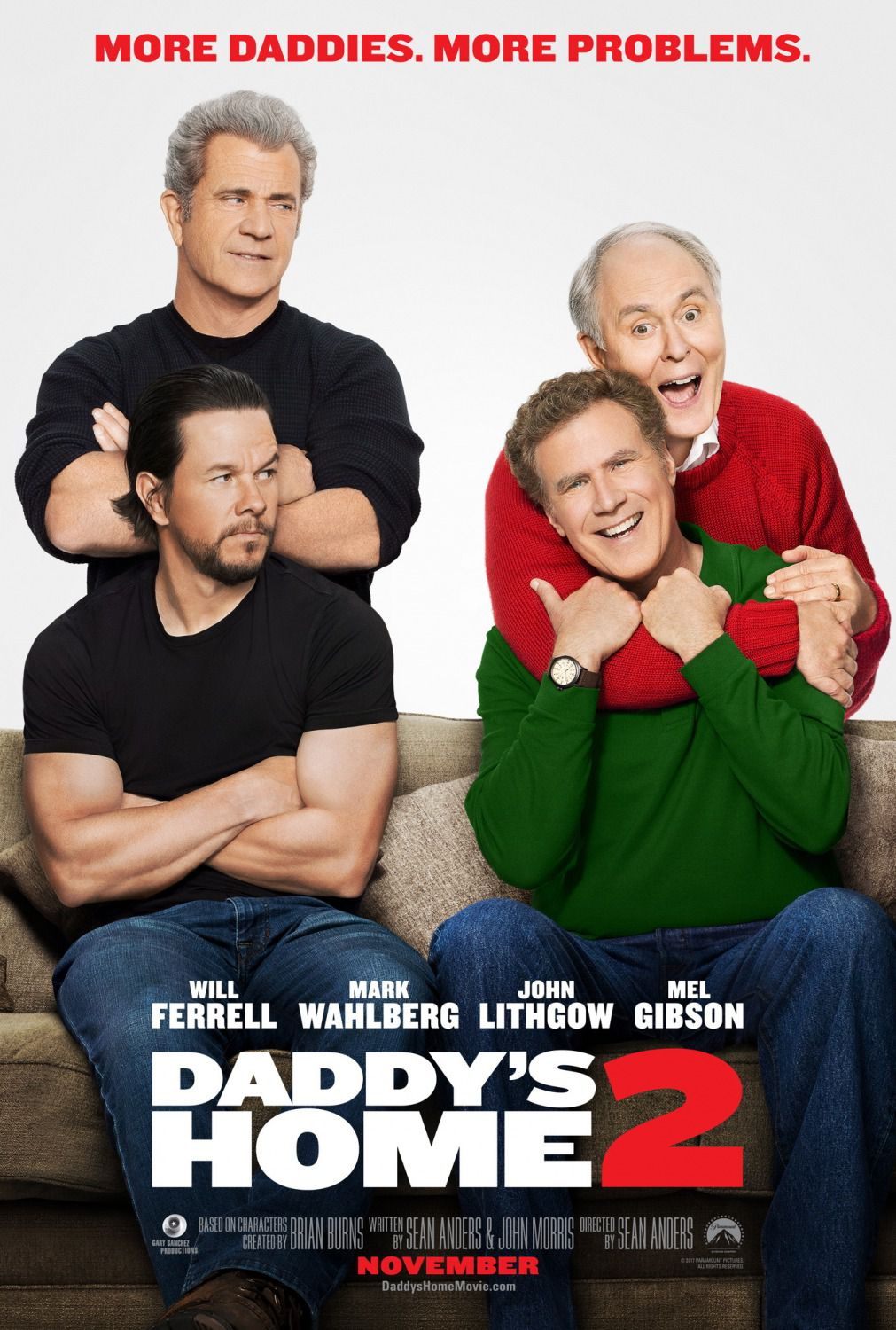 Daddys Home two - Daddy's Home 2 ... more Daddies, more Problems ... - Will Ferrell - Mark Wahlberg - John Lithgow - Mel Gibson - film poster