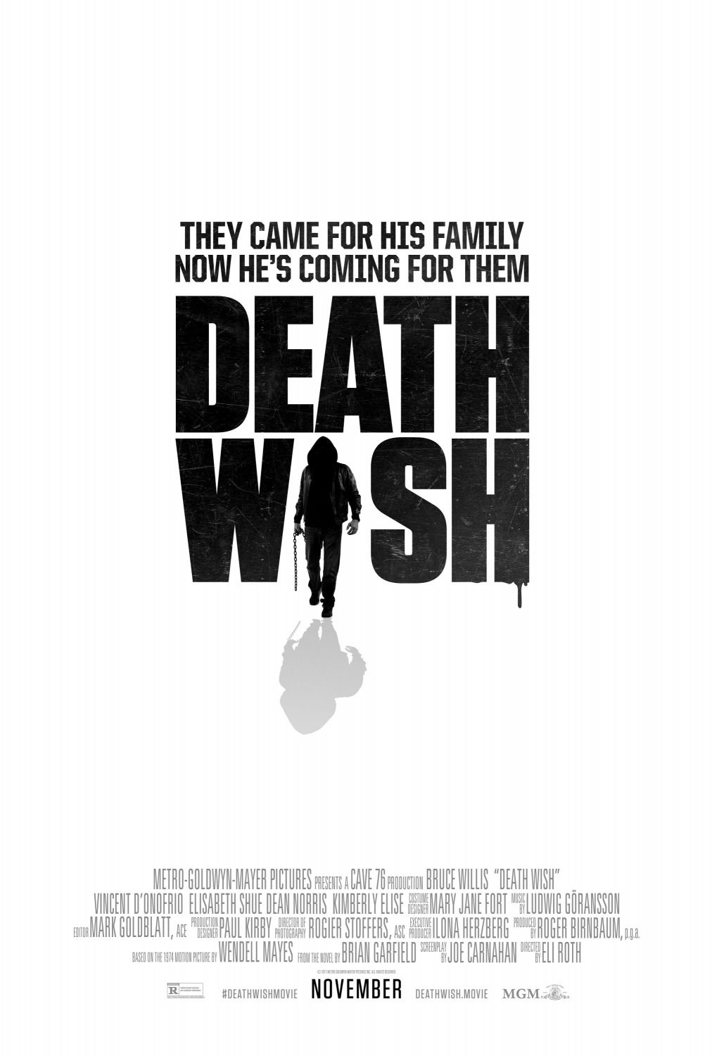 Death Wish - they came for his family, now he's coming for them Death Wish - Cave76 production - Bruce Willis - Vincent D'Onofrio - Elisabeth Shue - Dean Norris - Kimberly Elise - thriller film poster