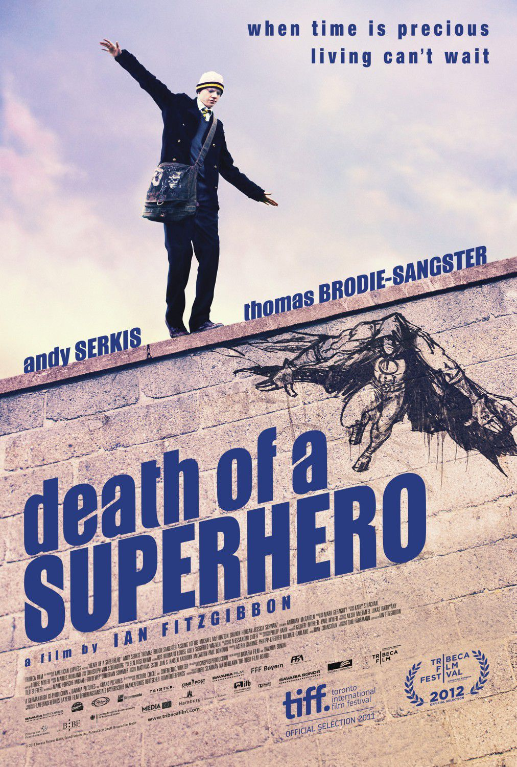 Death of Superhero - when time is precious living can't wait - Andy Serkis - Thomas Brodie Sangster - Ian Fitzgibbon - slice of real life film poster