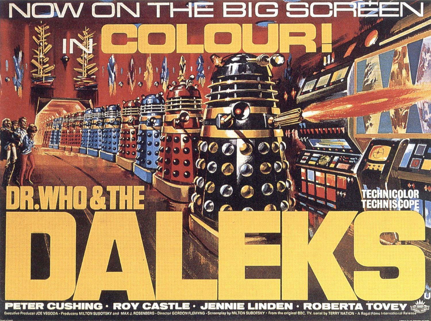 Dr Who and the Daleks - film 1966 - Peter Cushing - Roy Castle - Jennie Linden - Roberta Tovey - old classic poster