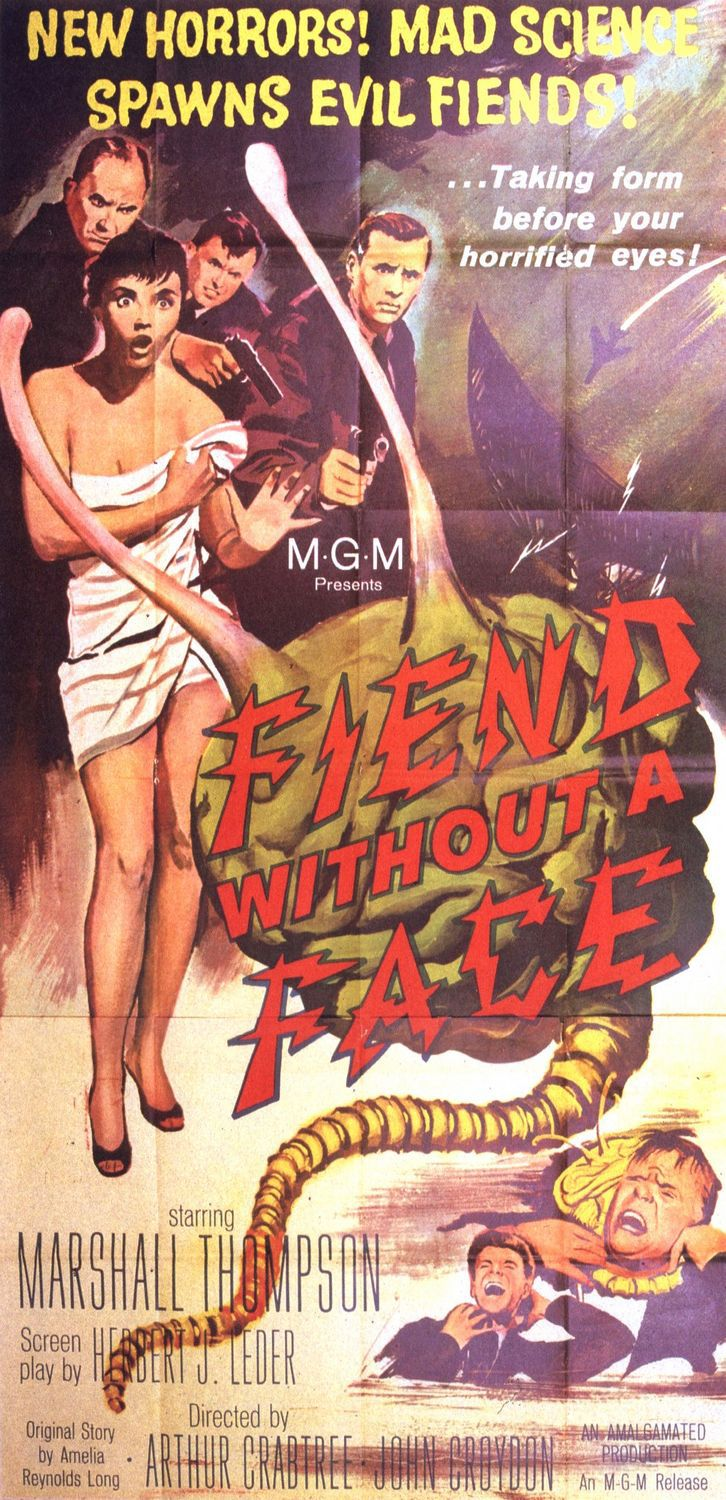 Fiend without a Face - new horrors, mad science. Spawns evil friends? Marshall Thompson - scifi cult classic horror 1958