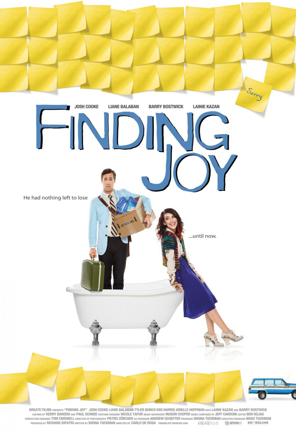 Finding Joy ... sometimes things fall apart so others can fall together. He had nothing left to lose, until now - Josh Cooke - Liane Balaban - Barry Bostwick - Lainie Kazan - film poster